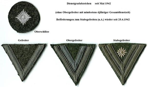 Dienstgradabzeichen Gefreiter, Obergefreiter, Stabsgefreiter.